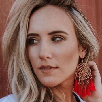 Dreamcatcher Tassel Earrings - Red