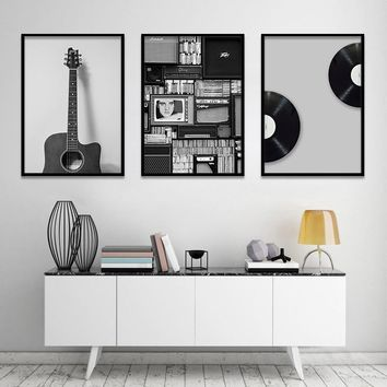 Vintage Music Prop Nordic Canvas Painting Home Decor Wall Art Retro Black White Guitar Office Living Room Picture Backdrop DIY