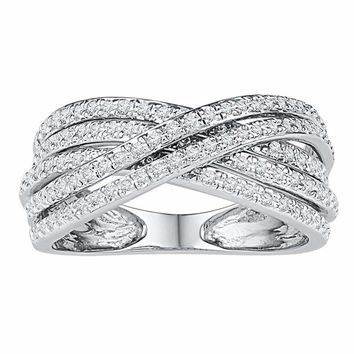 10kt White Gold Women's Round Diamond Crossover Five Row Band Ring 5-8 Cttw - FREE Shipping (US/CAN)
