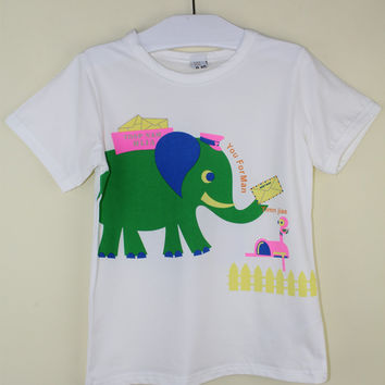 Clearance Discount  Boys T Shirts Short Sleeve O-neck Cotton T-shirt for Boys Elephant Printed Kids Boys Clothes YW