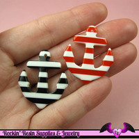 4 pcs Red and Black NAUTICAL ANCHORS Resin Flatback Decoden Cabochons or Charms