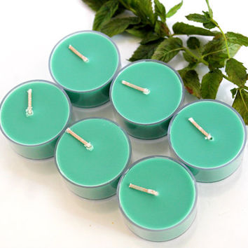 Eucalyptus and Spearmint Scented Soy Tealight Candles // Green Candles // Stress Relief // Handmade in Brooklyn // (Choose Your Pack)
