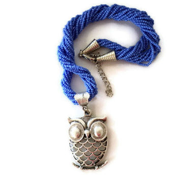 Owl necklace, blue seed beads necklace,gift necklace,summer, original, different, white necklace