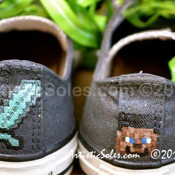 customized converse all star low top youth minecraft