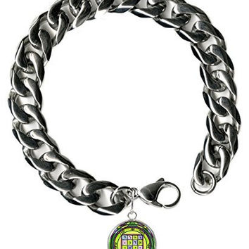 "Solomons 1st Saturn to Make Submit to Your Wishes Steel 9"" Mens Bracelet 12mm Thick Curb Chain"