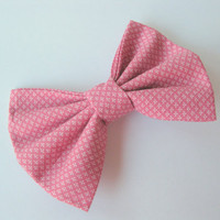 Pink fabric bow, girls hair clip, rose womens shabby chic, mauve Kawaii rockabilly hairclips, classic tuxedo bow,