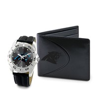 Carolina Panthers Watch & Bifold Wallet Gift Set (Black)