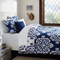 Ikat Medallion Essential Duvet Value Bedding Set, Royal Navy