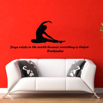 Quote Yoga Exists in the World Because Everything is Linked Decal Woman Gym Sport Vinyl Sticker Decor Home Interior Design Art Murals M769