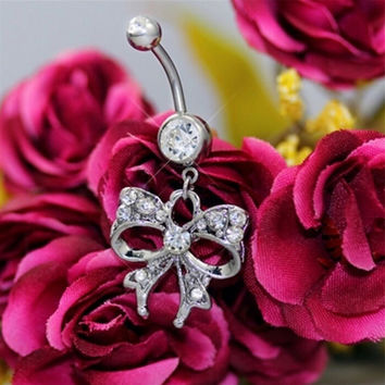Piercing Navel Body Jewelry Surgical Steel Bowknot Design Rhinestone Belly Button Barbell Navel Ring Bar SM6