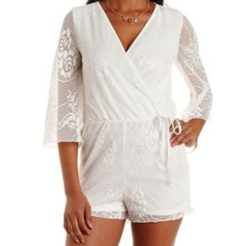 Ivory Bell Sleeve Netted Lace Wrap Romper by Charlotte Russe