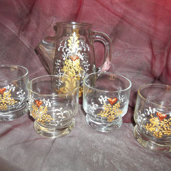 Hand Painted Juice Pitcher and Glasses