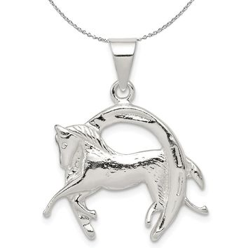 Sterling Silver Polished 3D Horse and Horseshoe Necklace