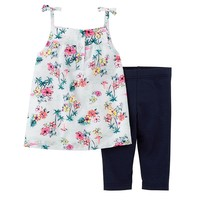 Carter's Floral Tank Top & Leggings Set - Baby Girl, Size: