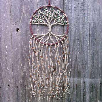 Hemp Tree of Life Dreamcatcher/ Medium / Macrame Wall Hanging / Hoop Art / Gift