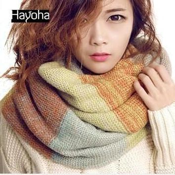 New winter and autumn knitting wool scarf striped thickening collar scarf women
