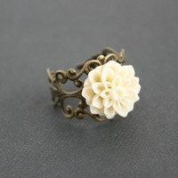 Creamy dahlia victorian flower ring brass filigree by DelicacyJ