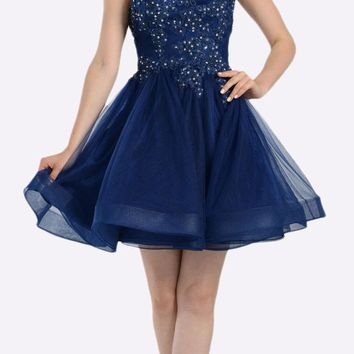 Navy Blue Lace Applique Bodice Short Prom Dress Sleeveless Cut Out Back