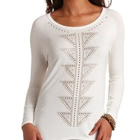 BACK CUT-OUT AZTEC STUD HI-LO TUNIC