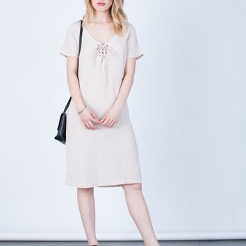 Lace-Up Linen Dress