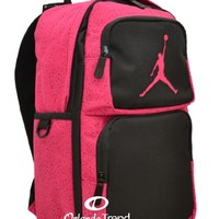 "Nike Air Jordan 14"" laptop Backpack Purple Black Pink School Book Bag Women Girl"