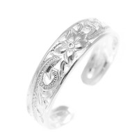 925 Sterling Silver Hawaiian Plumeria Flower Scroll 4mm Inside Cut Open Toe Ring
