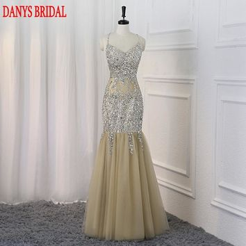 Sparkly Long Mermaid Prom Dresses kleider Sexy Sexy Crystals Beaded Women Champagne Evening Dress for Graduation Promdress