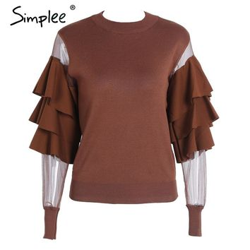 Transparent Mesh White Knitting Pullover Female Fluffy Sweater Women Jumper Fashion Long Sleeve Pull Knit Shirt