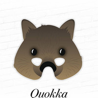 Quokka Mask, Printable Animal Mask, Paper Mask, Marsupial Mask, Australia Animals, Cute Animal Costume Mask, Easy DIY Mask, Photo Booth Prop