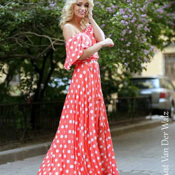Polka dot dress. Coral Summer dress.Maxi dress. 100% Viscose  /  High Quality Designer summer dress. Prom dresses, Plus size,  off shoulder