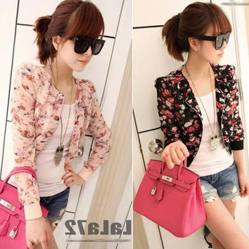 Korean Fashion Women Ladies Floral Flower Print Casual Chiffon Office Small Short Crop Coat Tops Outwear Jacket Size S (Size: S, Color: Black) = 1931572804