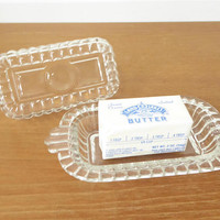 Hazel Atlas glass half-stick butter dish with lid in perfect condition