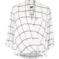 River Island Womens White check twist wrap blouse