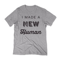 New Human - New Dad Tshirt / Grey