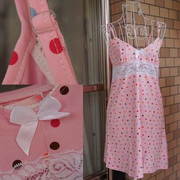 Summer female spaghetti strap 100% cotton nightgown sleepwear lounge pink one-piece dress color point