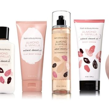 6 SET Bath & Body Works ALMOND & VANILLA Collection