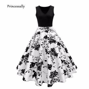Robe De Soriee New Cocktail Dresses Contrast Color Flower Print Black Short Prom Party Formal Gown Cheap Vestido De Festa 2018