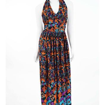 70s Floral Border Print Halter Style Maxi Dress-S