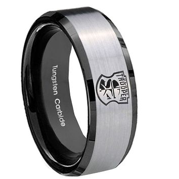 10mm Star Wars Clone Trooper Beveled Brushed Silver Black Tungsten Promise Ring