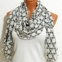 bow  patterned chiffon infinity scarf circle scarf spring scarf mother's Day,gifts birthday gifts,laser cutting scarf