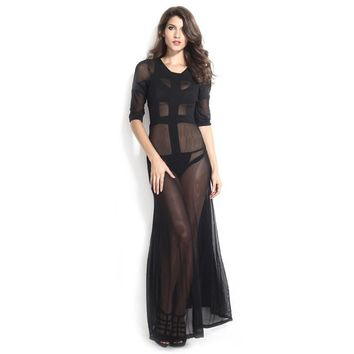 Sexy Princess Women's Fashion Transparent Mosaic Three-quarter Sleeve See Through Black Prom Dress [6514387719]
