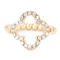 Gold Crystal Clover Ring - Love Always by Stephanie Diaz