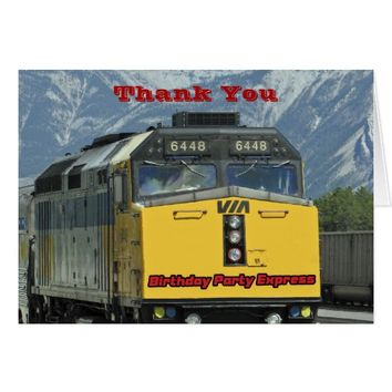 Birthday Thank You Note, Yellow Railroad Train Card