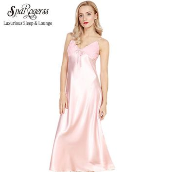 SpaRogerss Long Women Nightgowns 2017 New Faux Silk Ladies Split Summer Long Sexy Lace Sleep Dressing Gowns Lounge Woman CQ311