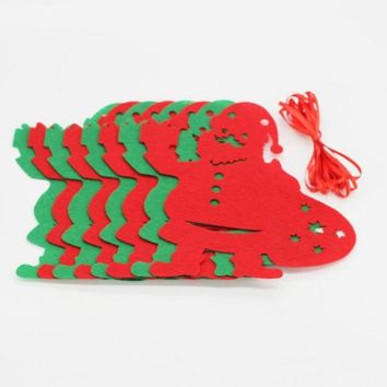 8pc Christmas Decoration Home Bunting Banner Garland Props Flag