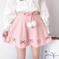Kawaii Embroidered Bow Skirt