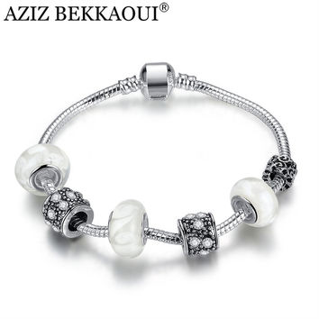 European Style Charms Bracelets For Women 15-23CM Snake Chain with Daisies Murano Glass& Crystal Beaded Bracelet Christmas Gift