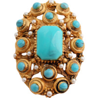 Vintage BSK Brooch Pendant Faux Turquoise Seed Pearls Gold Tone Egyptian Revival Design