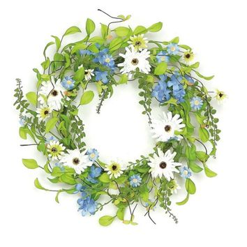 "24"" Decorative White and Yellow Field Daisy  Blossom and Berry Artificial Floral Wreath Unlit"