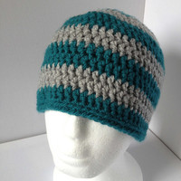 Green Beanie Hat, Grey Crochet Hat,Mens Fitted Green Hat, Green and Grey Crochet Hat, Simple Green Beanie